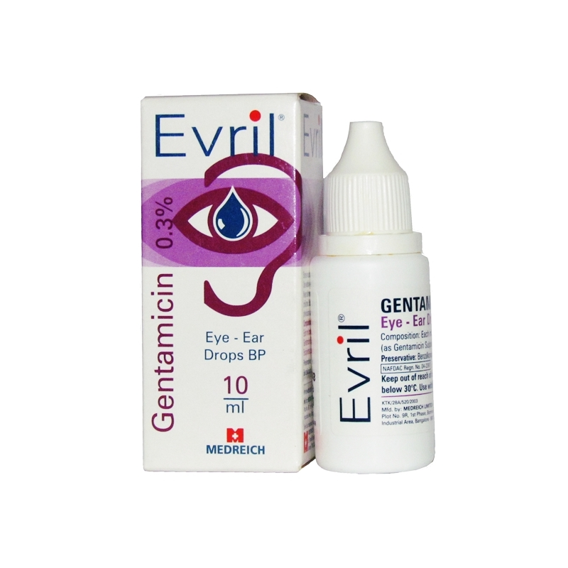 Evril Gentamicin 0.3% Ear Drop Ð 10ml